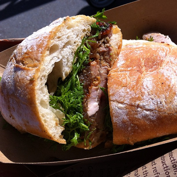Saturday morning must-do when in SF - the porchetta sandwich at Roli Roti. Nomnomnom #thisiswhyimfat #porchetta #roliroti #sf #bayarea #foodforfoodies #food #foodporn