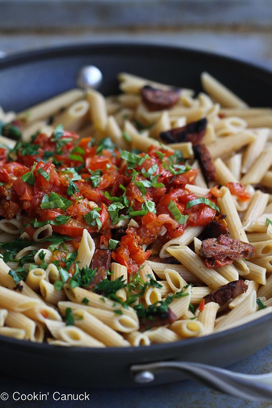 ... ' Canuck | Roasted Tomato & Chicken Sausage Whole Wheat Pasta Recipe