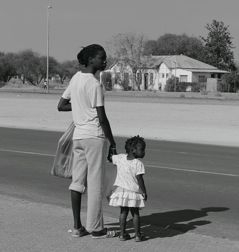 Crossing the road with Mommy