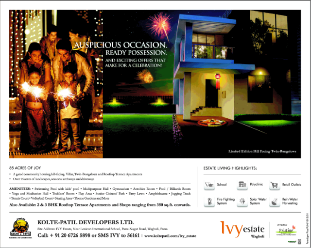Available! Ready Possession Hill Facing 3.5 BHK Twin Bungalows for Rs. 1.26 Crore (Approx All Inclusive Property Price) at Ivy Estate Wagholi Pune (4-10-2013)