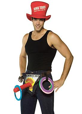 "A male Halloween costume for ""ring toss"" with a phallic pole people can toss rings on."