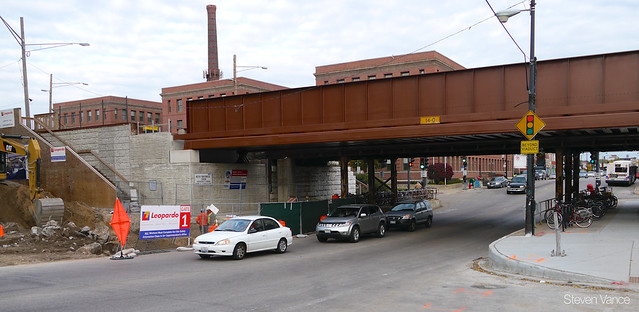 Lawrence Avenue + Metra station + sidewalk closure