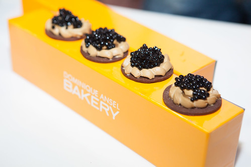 Dominique Ansel Bakery - Chocolate caviar served with coffee caramel cream and sablé cookie
