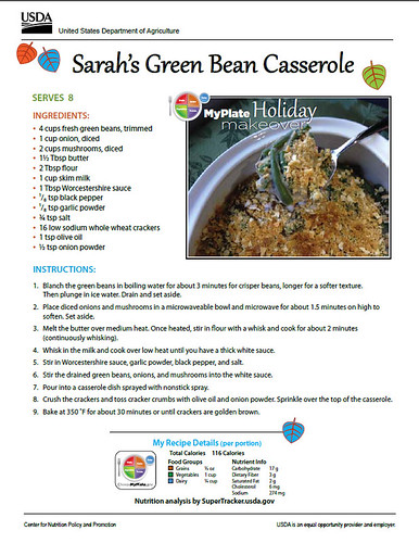 Sarah's Green Bean Casserole recipe. Click to enlarge for larger version.