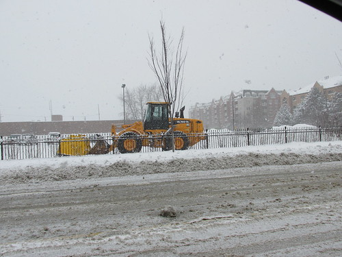 A heavy front end loader tractor leased for parking lot snow removal duty.  Norridge Illinois.  Thursday, January 2nd, 2013. by Eddie from Chicago