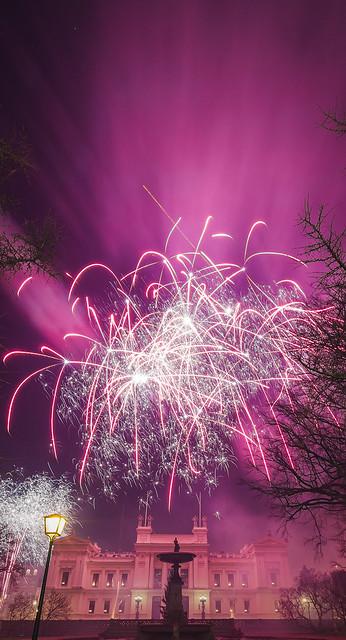 20140108_F0001: Smoky purple fireworks in the wind