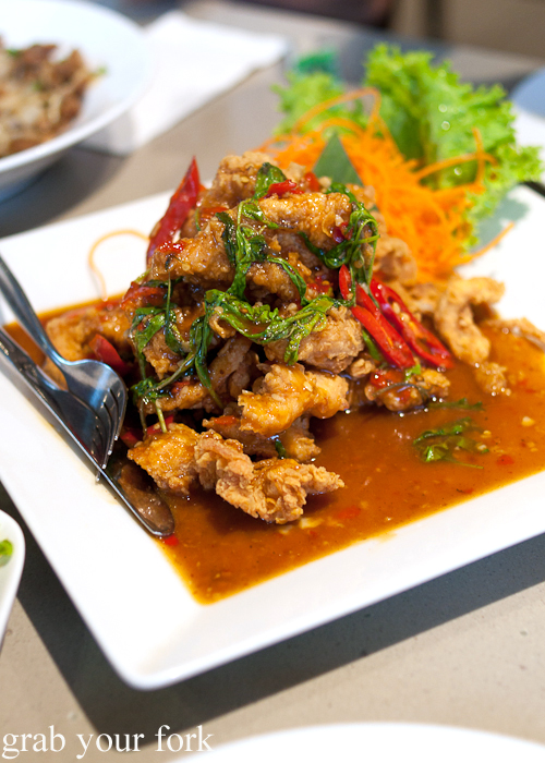 Chilli basil crispy chicken at Rim Tanon Haymarket Chinatown