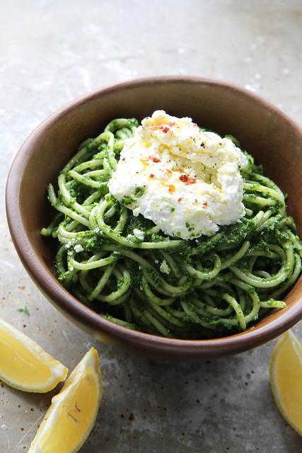 Kale Pesto Pasta with Ricotta and Chili
