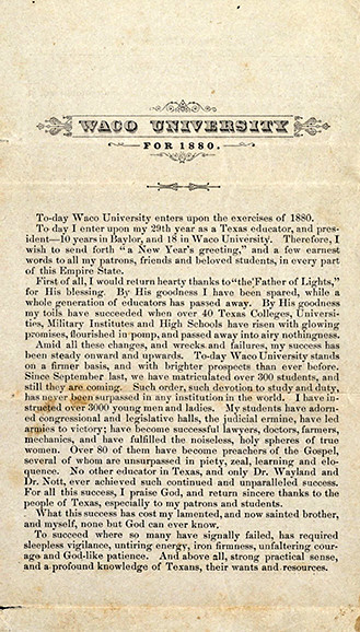 Waco University pamphlet