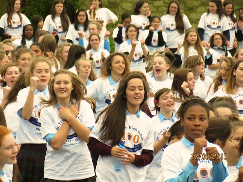 The St Louis Rathmines girls performing at the Centenary Fun Day in September