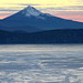 Mt McLoughlin Sunset over a frozen Klamath Lake by DaveM1994