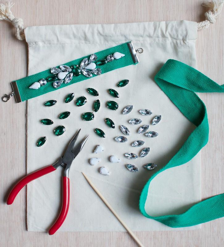 jeweled ribbon bracelet DIY kit