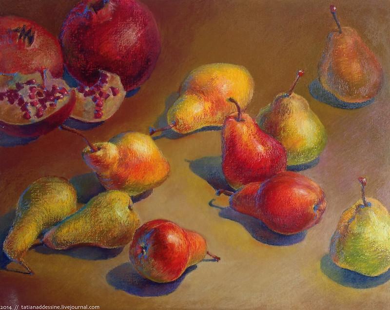 pears oil pastel