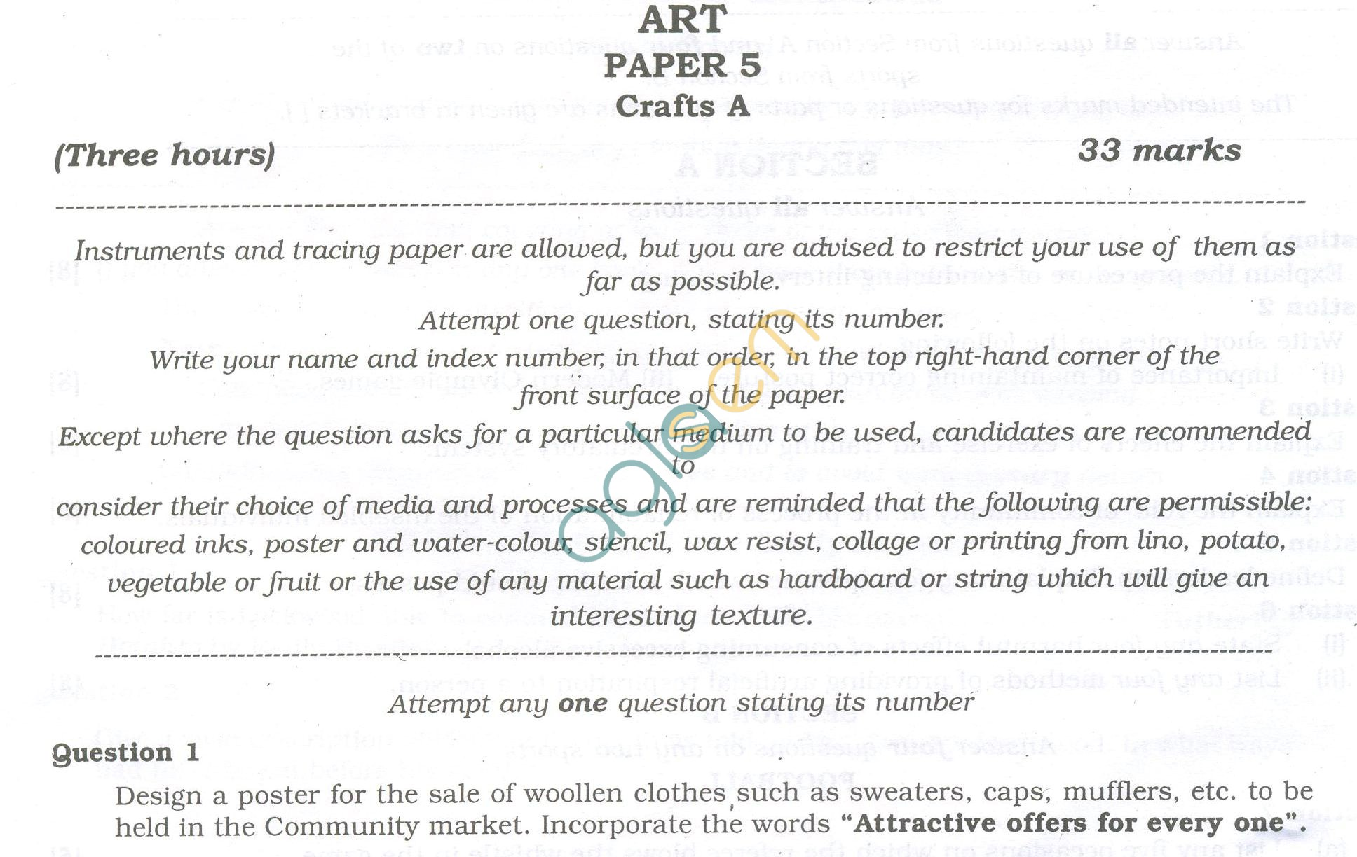 ISC Question Papers 2013 for Class 12 - Arts Paper V