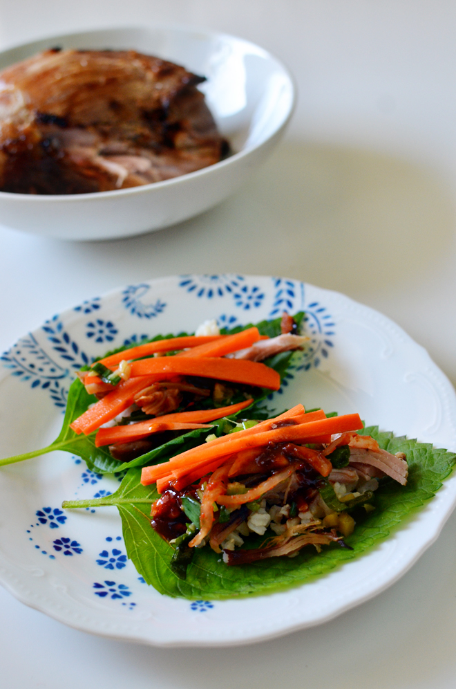 korean pork roast wrap
