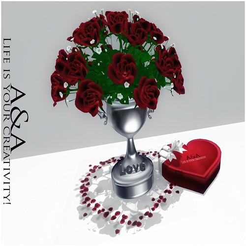 ::A&A:: Red Roses Vase - LOVE by Alliana Petunia