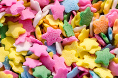 candy, confectionery, yellow, sweetness, sprinkles, food, dessert, snack food, pink,