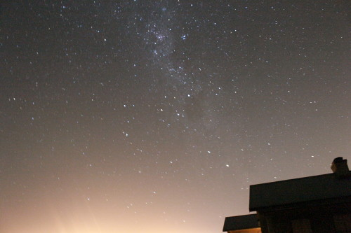 Close up of Crux(Southern Cross) and Carina over the light polluted horizon at Perdeberg