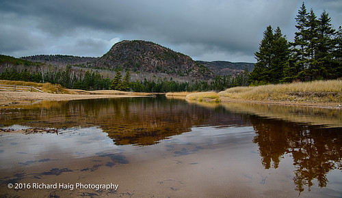 landscape nikonafsnikkor2412014ged acadianationalpark me overcast richhaig maine clouds trees nationalpark rocks sky thebeehive reflection water nikond800 fence