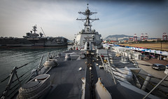 USS Wayne E. Meyer (DDG 108) sits along the pier in Busan near USS Carl Vinson (CVN 70), March 16. (U.S. Navy/MC2 Z.A. Landers)