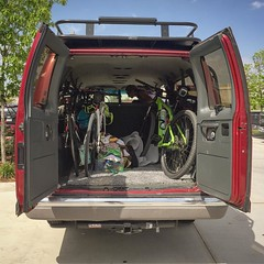 #rubytheadventurevan picked us up from @rockandbrews so we could have a beer for breakfast. Thanks!! @cameronclement @jenniferclement #cyclinglife #bikelife #adventurevan #ride