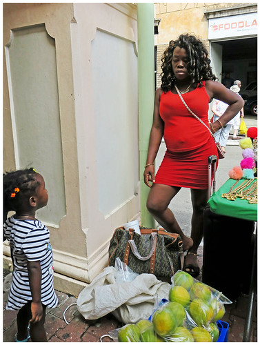 conversation sidewalk candid streetphotography reddress pregnant motheranddaughter marketstall caribbean granada canon5d