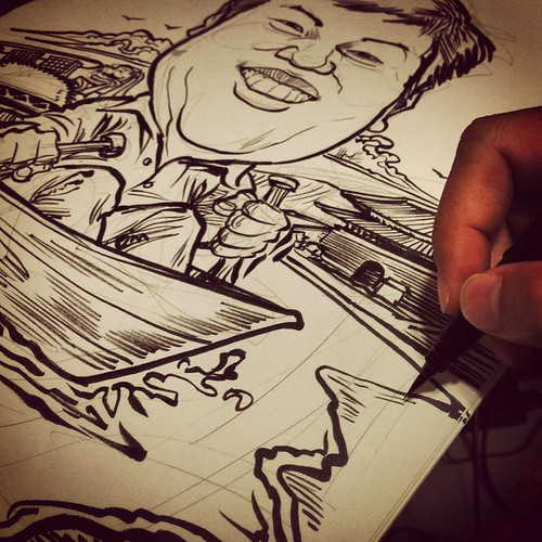 Mr Foo caricature for Wartsila sketching in progress