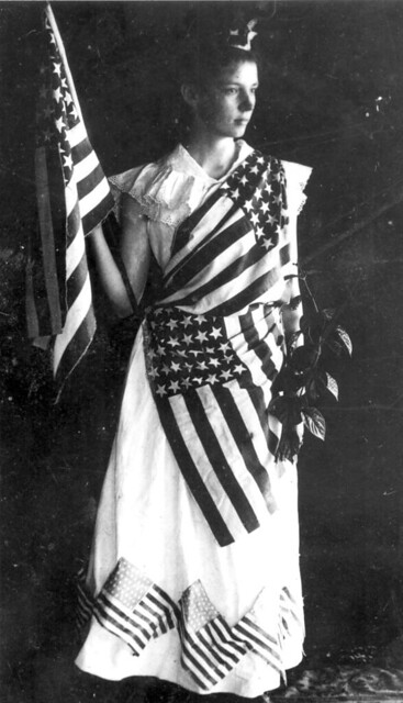Marion Duncan in costume for a July 4th-themed play: Tavares, Florida