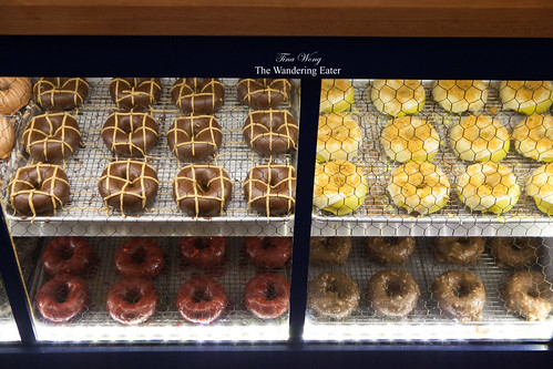 Fancy donuts on display