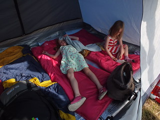 Millie and Amber in the tent