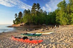 kayaks at Mosquito River Pictured Rocks National Lakeshore by Michigan Nut