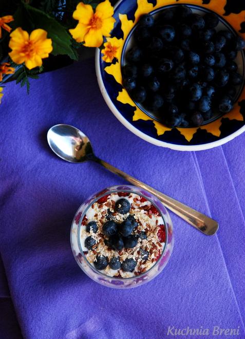 jogurt z owocami i płatkami owsianymi