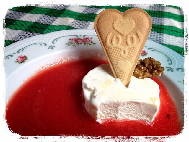 sopa de sandía con helado