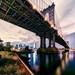 Manhattan on Brooklyn side to Bridge and Manhattan on August 3, 2013 by mudpig