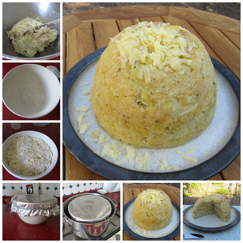 British Porree und Cheddar-Käse Pudding