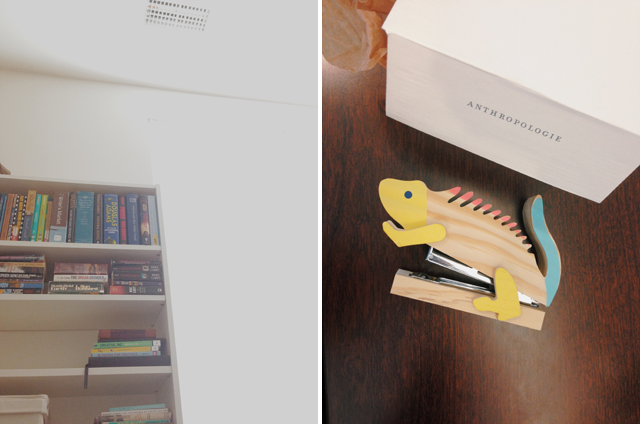 Organized Bookshelf & Lizard Stapler, Anthropologie