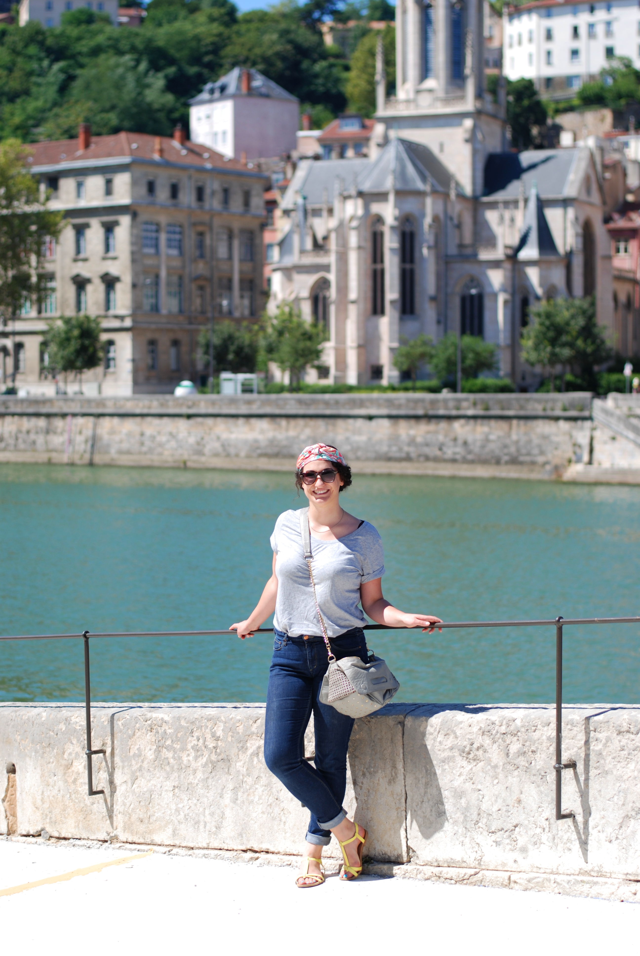 chambray and curls Lyon France Summer Travel Girl casual outfit by riverside