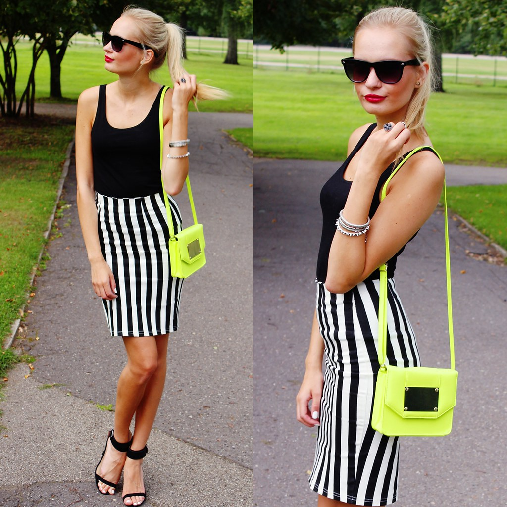 striped pencil skirt choies, neon color bag H&M, rayban sunnies, red lipstick and blonde girl, zara black sandals, back to basics