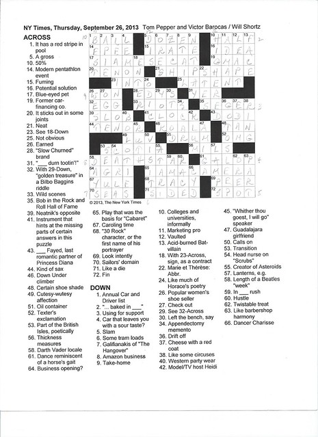 NYT Thursday Puzzle - September 26, 2013