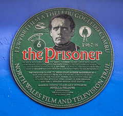 Photo of Patrick McGoohan and The Prisoner green plaque