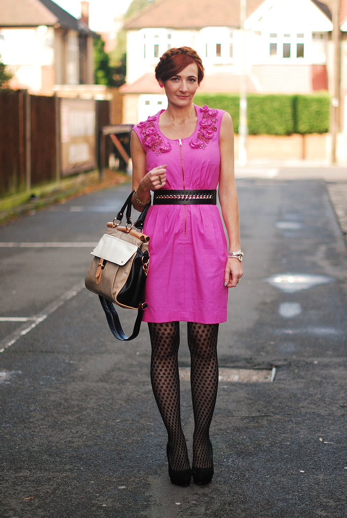 Pink Mulberry flower detail dress, patterned tights & color block bag