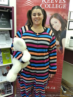 Reeves College Lloydminster Campus Students, Staff and Faculty in Halloween Costumes - Rebecca in PJs