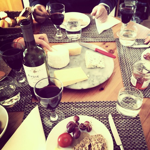 Family lunch cheese sharing French wine
