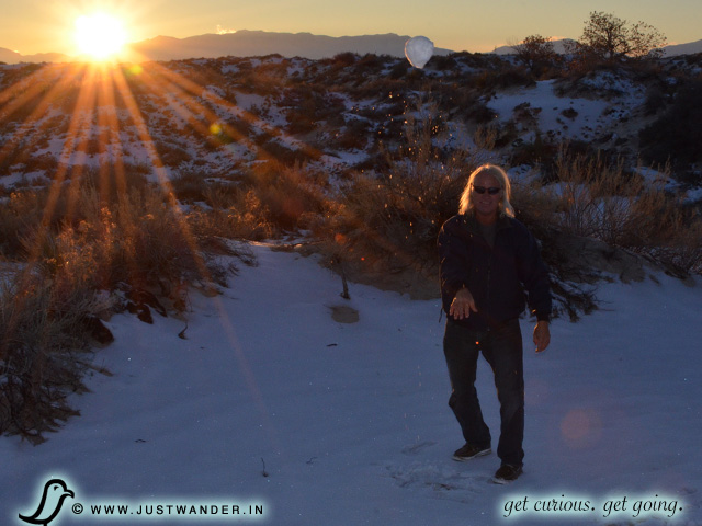 PIC: Snowball fight, in November, at White Sands National Monument