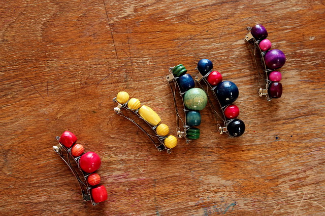 wood bead barrettes