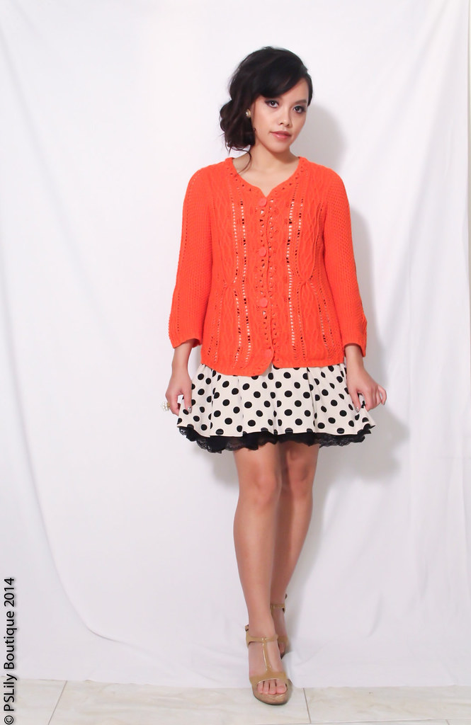 Orange cardigan,Trends, polka dot dress, pearl earrings, pearl cluster ring, beige wedges, sandals, fashion blogger, fashion blog, California Fashion blog, Style, Coldwater Creek, Bongo, Hair, PS Lily Boutique