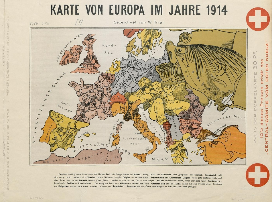 cartoon map of europe in 1914