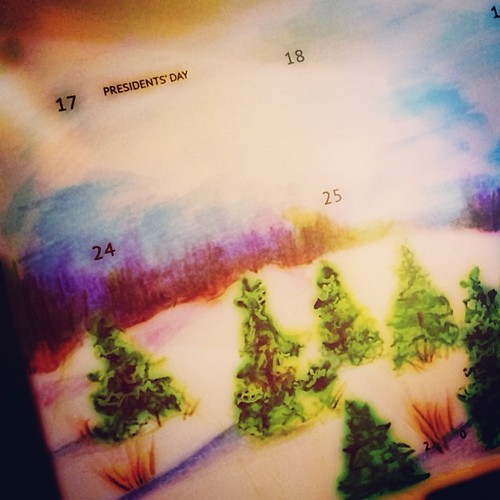 #project365 day 10 - winter scene for the #qimmis February month on two page insert. I used watercolor pencils but I think this paper would be more suited to regular pencil drawing or very light watercolor washes. It takes pen really well but the 'tooth'