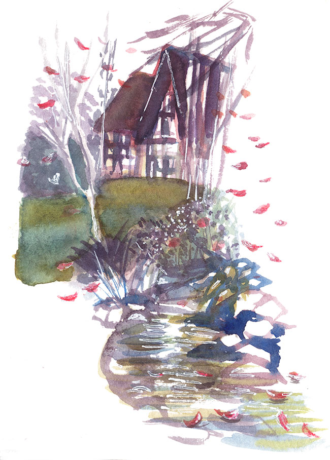 "Shiho Nakaza Pasadena ""Los Angeles"" ""Ambassador Gardens"" watercolor sketch nature garden"