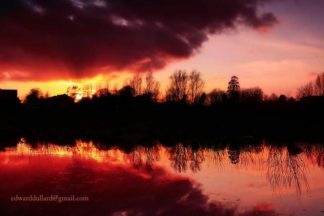 Lake at sunset.